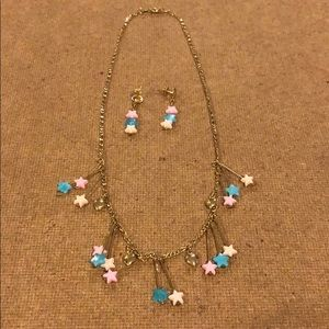 Dangling Stars & Heart Necklace & Earring Set